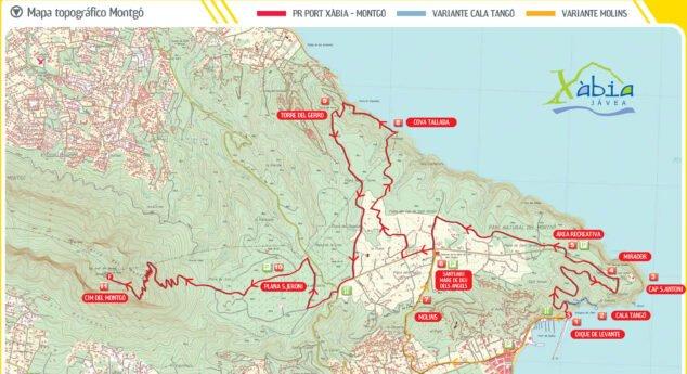 Imagen: Mapa topográfico del Montgó. La línea roja corresponde a la ruta del Puerto de Jávea a la cima (Fuente: xabia.org)