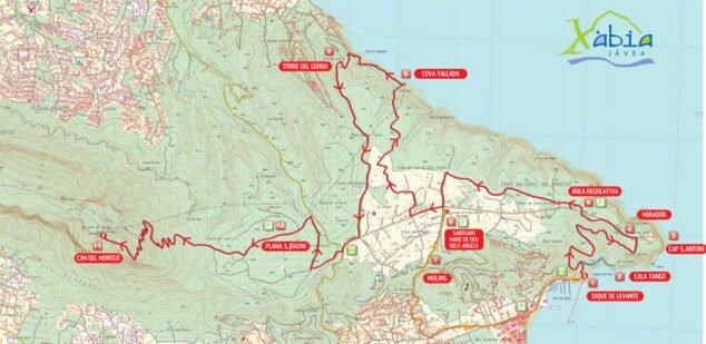 Imagen: Plano de las rutas de Xàbia (Fuente: Turisme Xàbia)