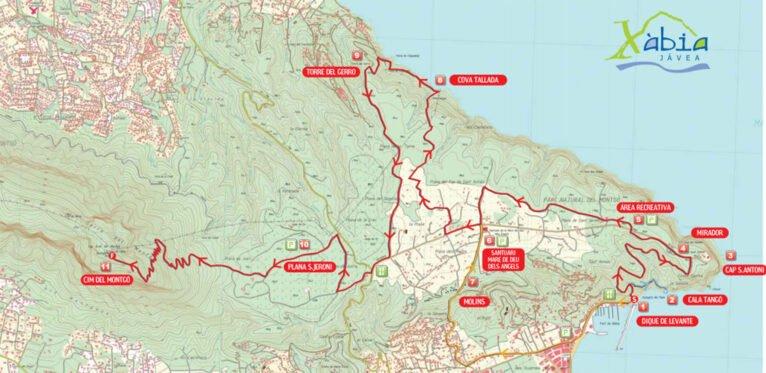 Plano de las rutas de Xàbia (Fuente: Turisme Xàbia)
