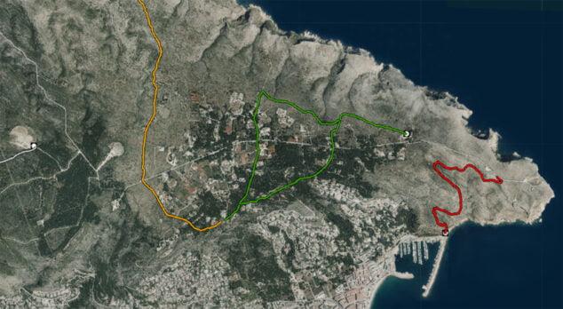 Imagen: Ruta senderista del área recreativa a los Molinos de Jávea, marcada por la línea verde (Fuente: Institut Cartogràfic Valencià)