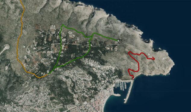 Imagen: La ruta senderista del Cabo de San Antonio al Puerto de Jávea, marcada en rojo (Fuente: Institut Cartogràfic Valencià)