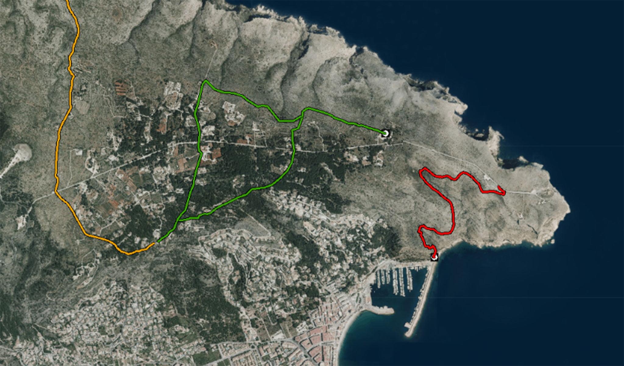 La ruta senderista del Cabo de San Antonio al Puerto de Jávea, marcada en rojo (Fuente: Institut Cartogràfic Valencià)