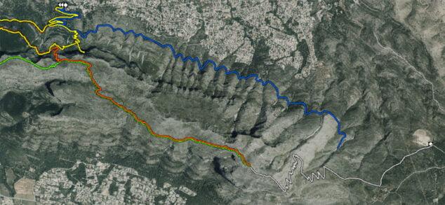 Imagen: Ruta gris, a la derecha de la imagen (Fuente: Institut Cartogràfic Valencià)