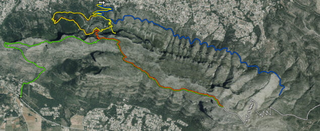 Imagen: La línea verde de la izquierda de la imagen señala la ruta Jesús Pobre-Cima del Montgó (Fuente: Web oficial de Parcs Naturals de la Generalitat Valenciana)