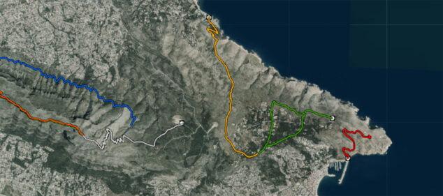 Imagen: Ruta de la Torre del Gerro, en Dénia, a los Molinos de Xàbia, marcada en naranja (Fuente: Institut Cartogràfic Valencià)