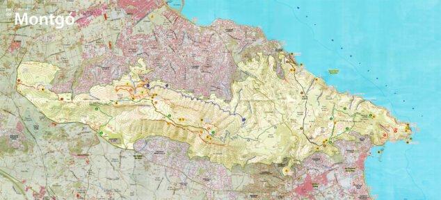 Imagen: Plano de las rutas por el Montgó