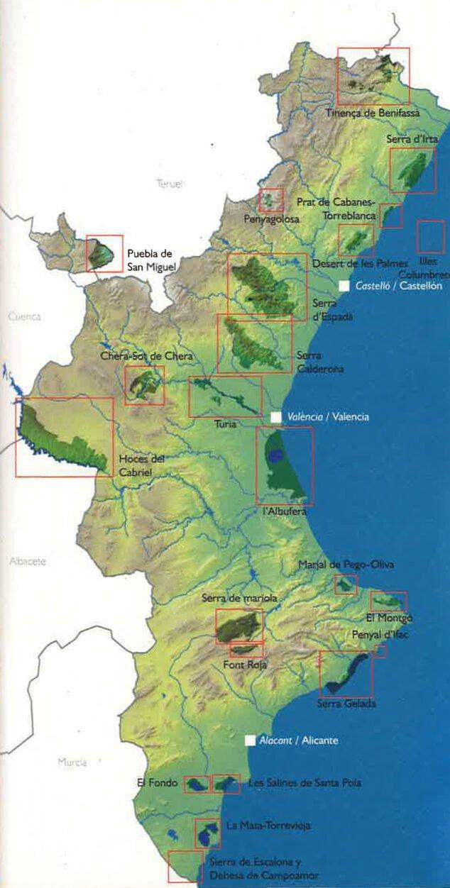 Imagen: Mapa de situación de todos los Parques Naturales de la Comunitat Valenciana