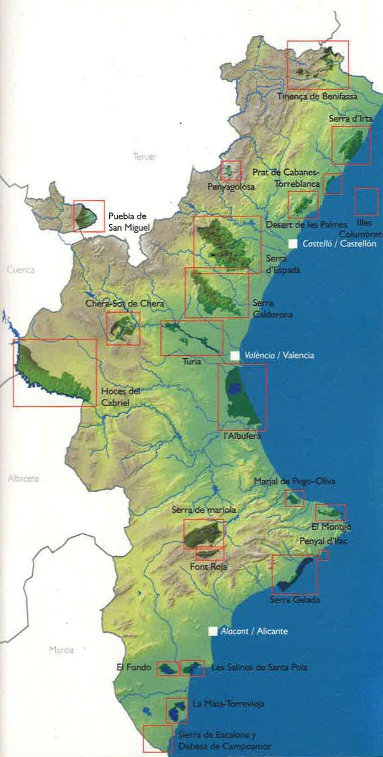 Mapa de situación de todos los Parques Naturales de la Comunitat Valenciana