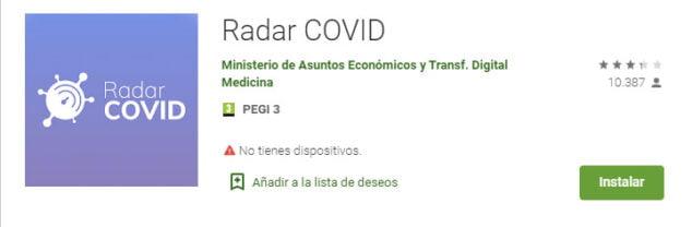 Imagen: App Radar Covid