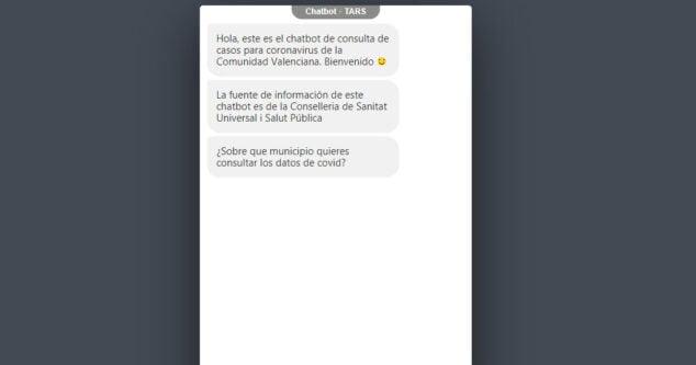 Imagen: Chat de consulta de Generalitat sobre el COVID-19