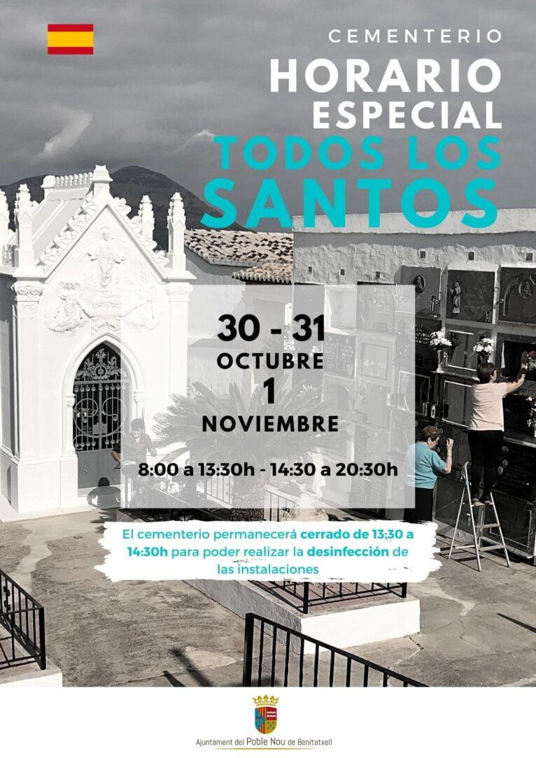Horario del cementerio de Benitatxell con motivo del Día de Todos los Santos