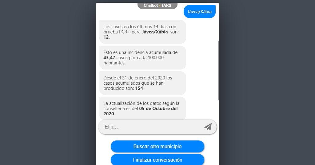 Información facilitada por el chat sobre municipios