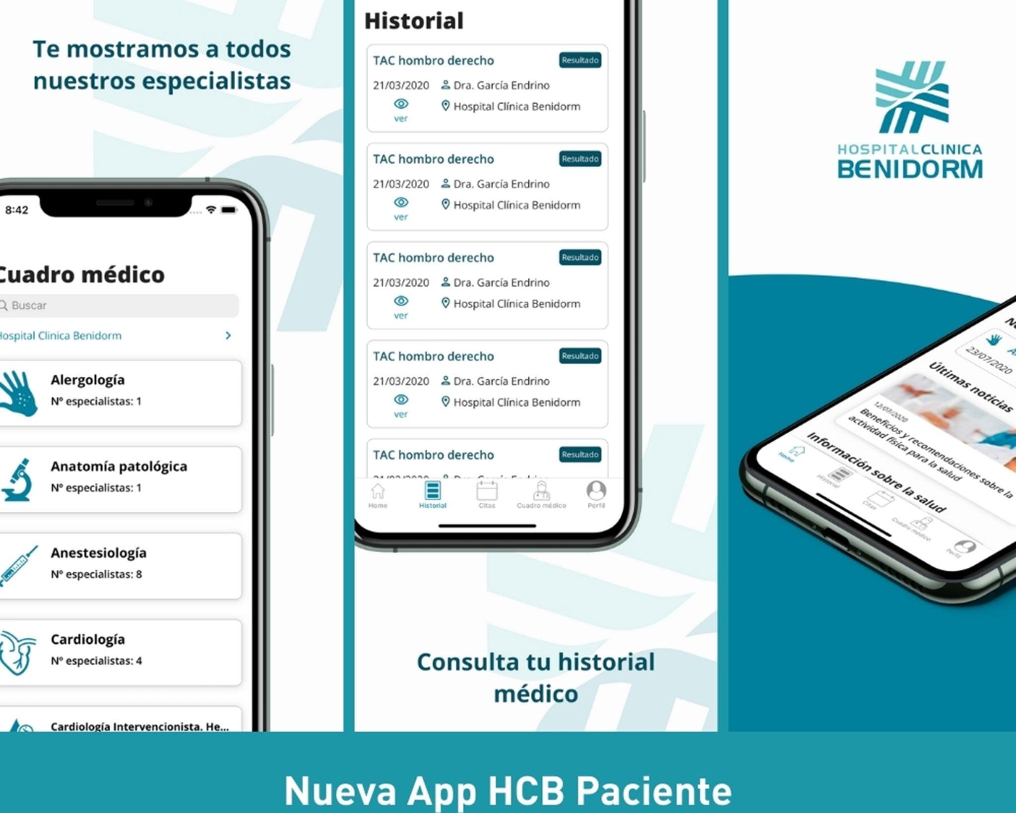 Nueva aplicación para móvil de Hospital Clínica Benidorm (HCB)