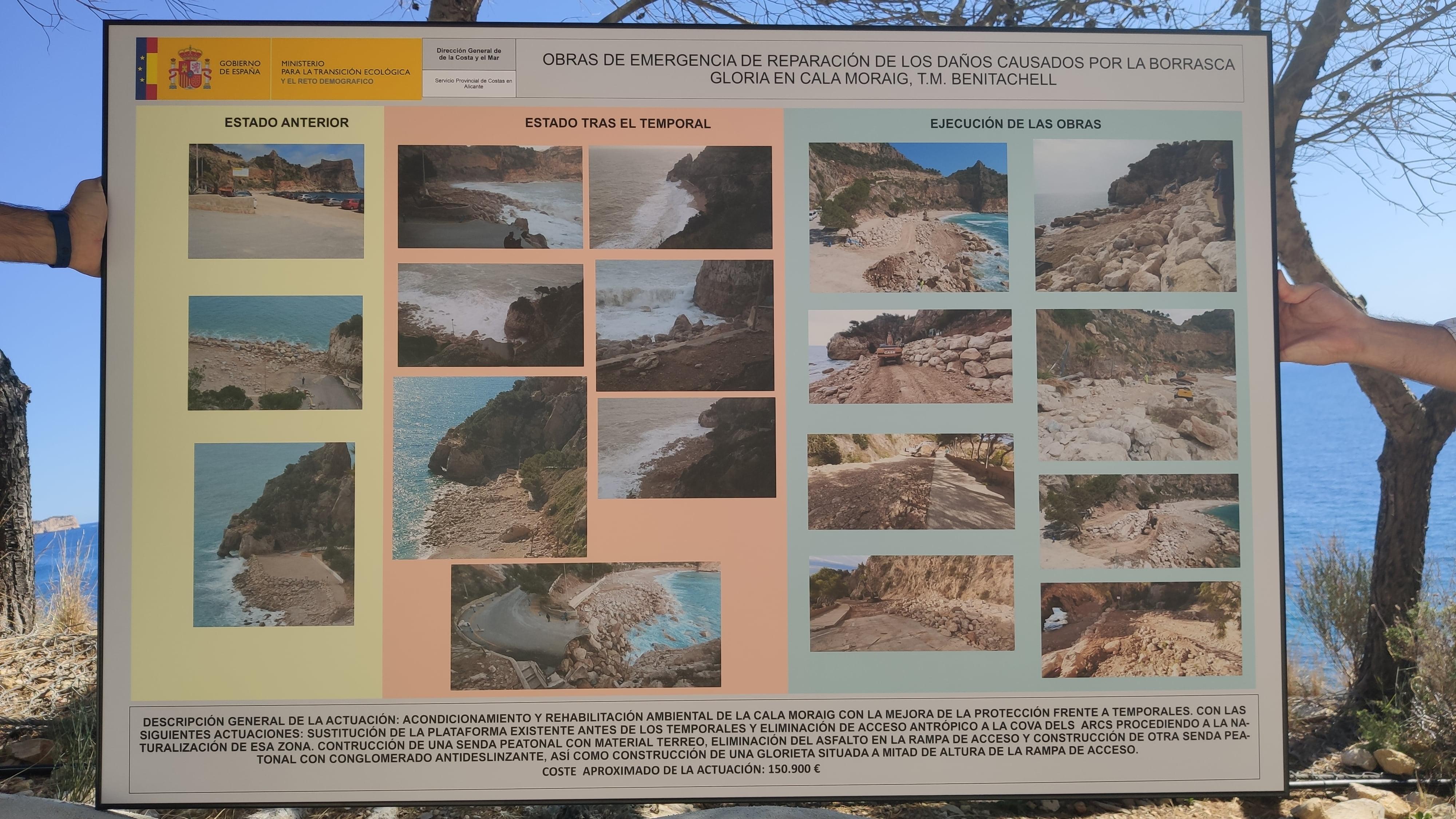 Panel del antes y después de las obras de rehabilitación