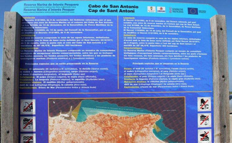 Panel informativo sobre el Cap de Sant Antoni de Xàbia