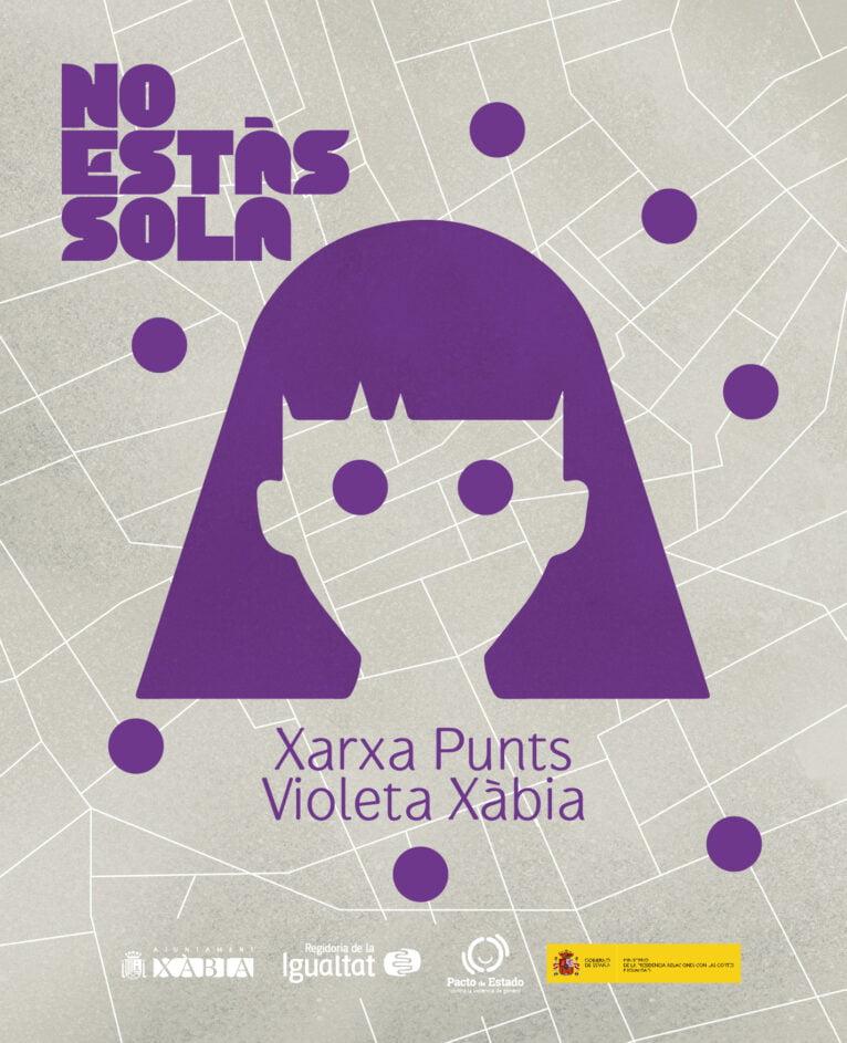 Cartel de Puntos Violeta en Xàbia