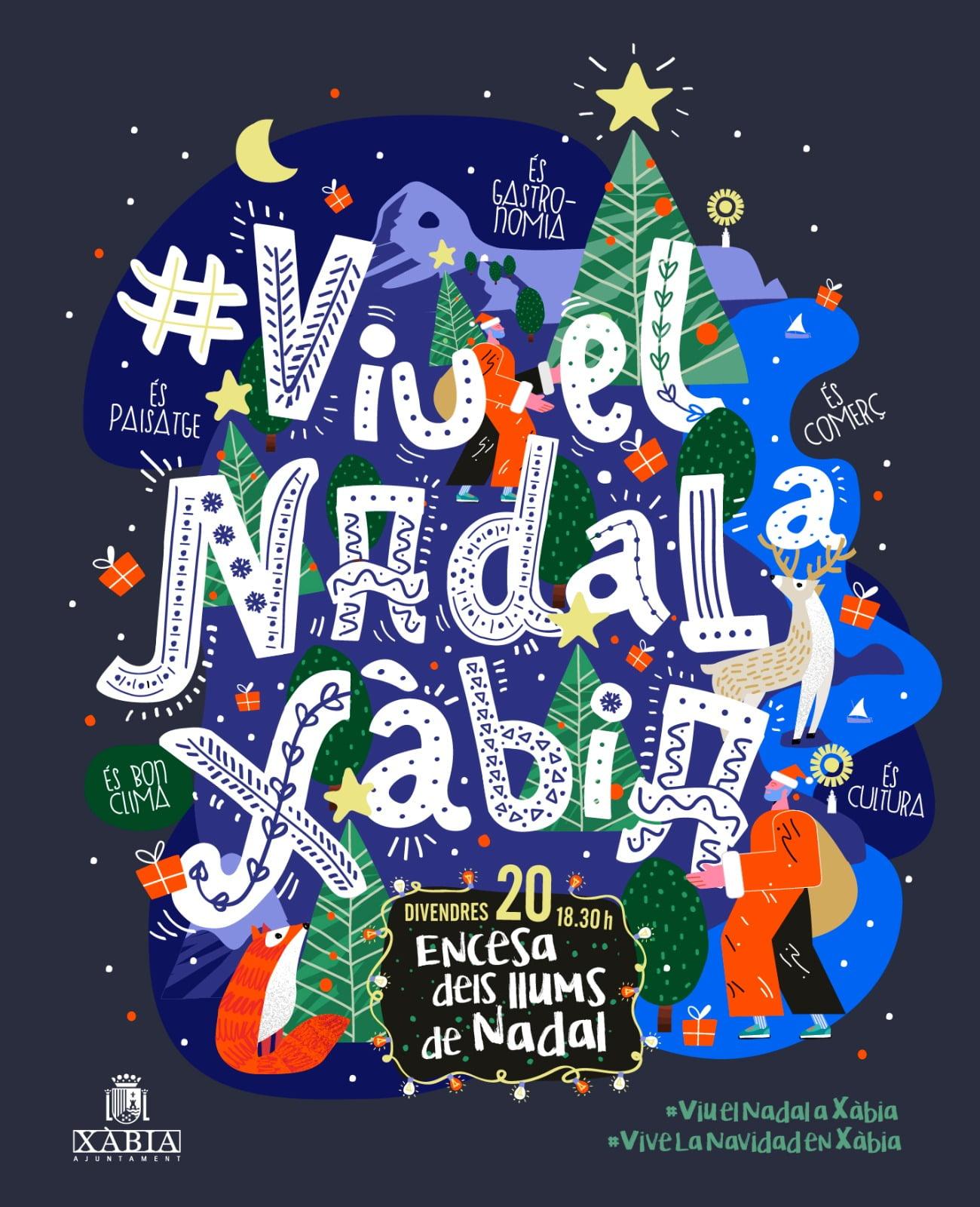 Cartel del encendido navideño en Xàbia