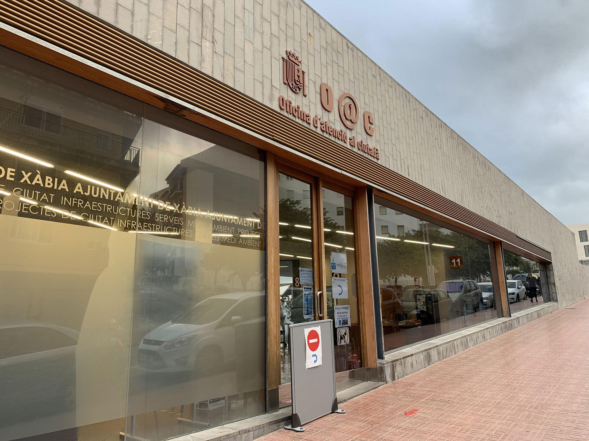 Exterior de la Oficina de Atención al Ciudadano de Jávea