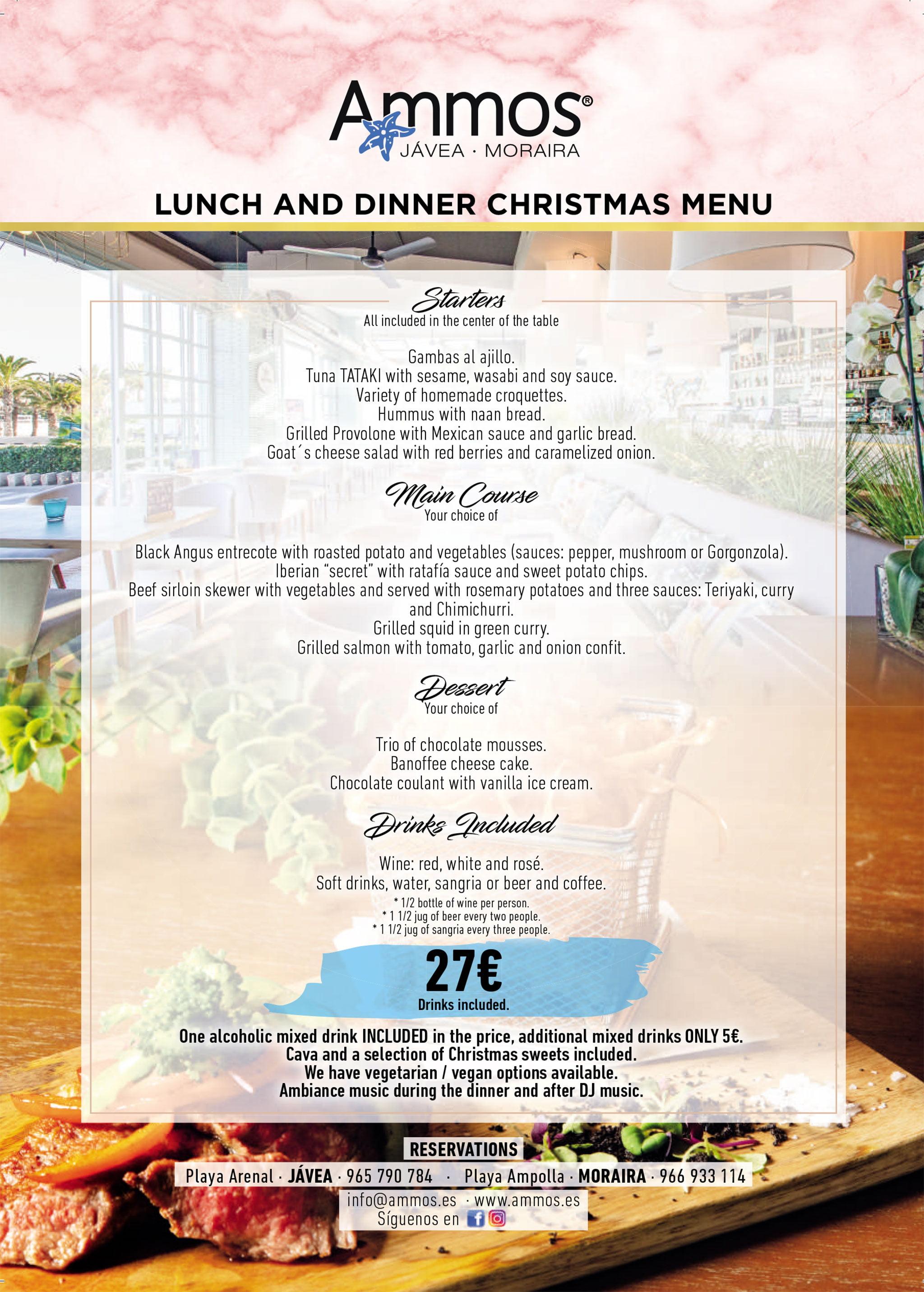 Menú de Navidad en Jávea y Moraira (en inglés) – Restaurante Ammos