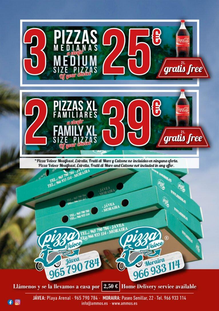 Oferta de pizzas en Jávea - Restaurante Ammos
