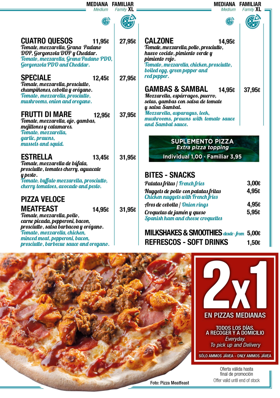 Tipos de pizzas con oferta 2×1 en medianas en Jávea – Restaurante Ammos