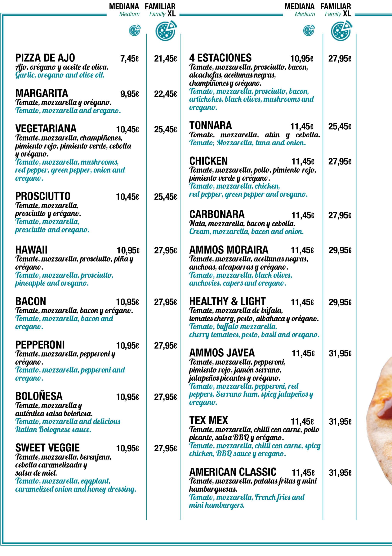 Tipos de pizzas con oferta 2×1 en medianas – Restaurante Ammos