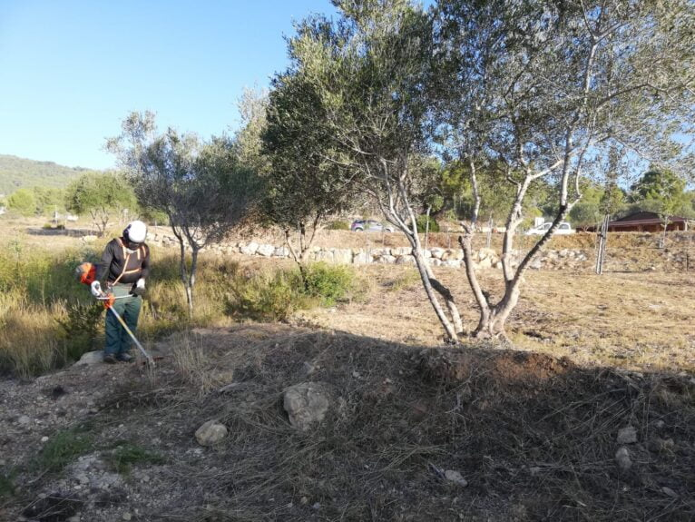 Trabajos de desbroce en El Poble Nou de Benitatxell