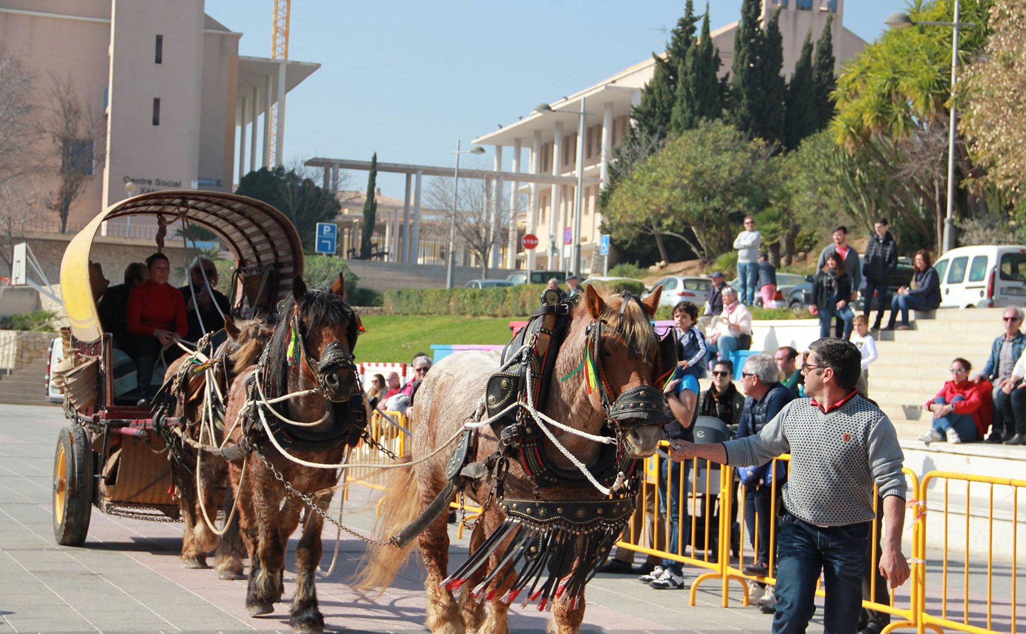 Festividad en honor a San Antonio Abad en Jávea, bendición de caballerías