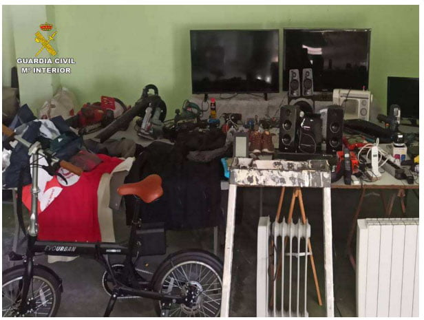 Objetos robados recuperados por la Guardia Civil
