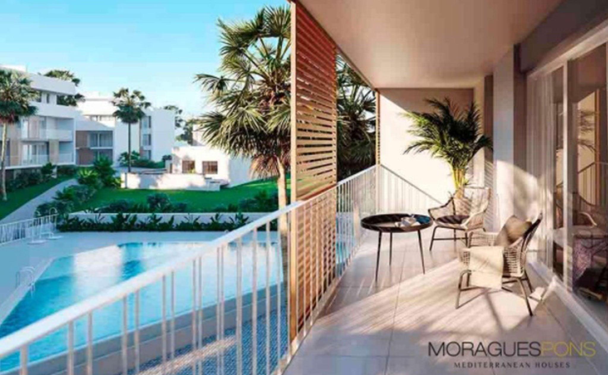 Vistas a la piscina en una vivienda del Residencial Unic, obra nueva en Jávea – MORAGUESPONS Mediterranean Houses