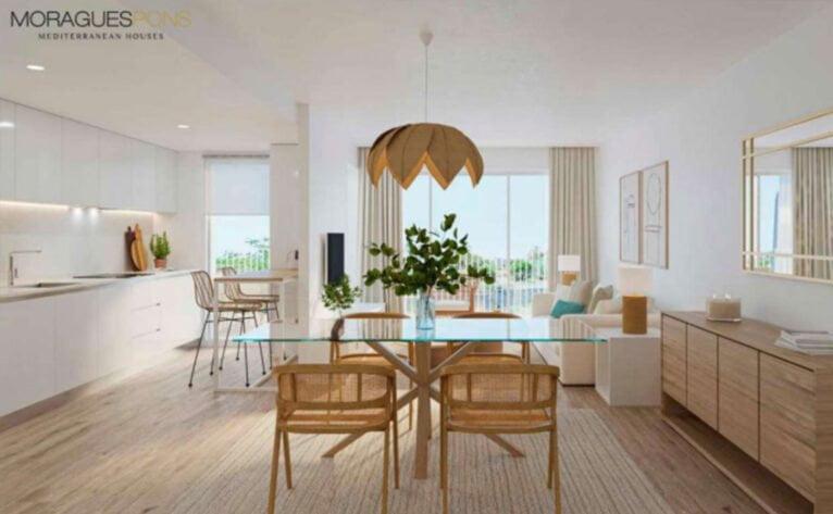 Salón de una vivienda del Residencial Unic, obra nueva en Jávea - MORAGUESPONS Mediterranean Houses