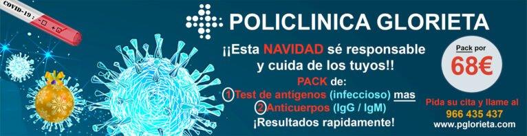 Pack de test de anticuerpos y test de antígenos en Policlínica Glorieta