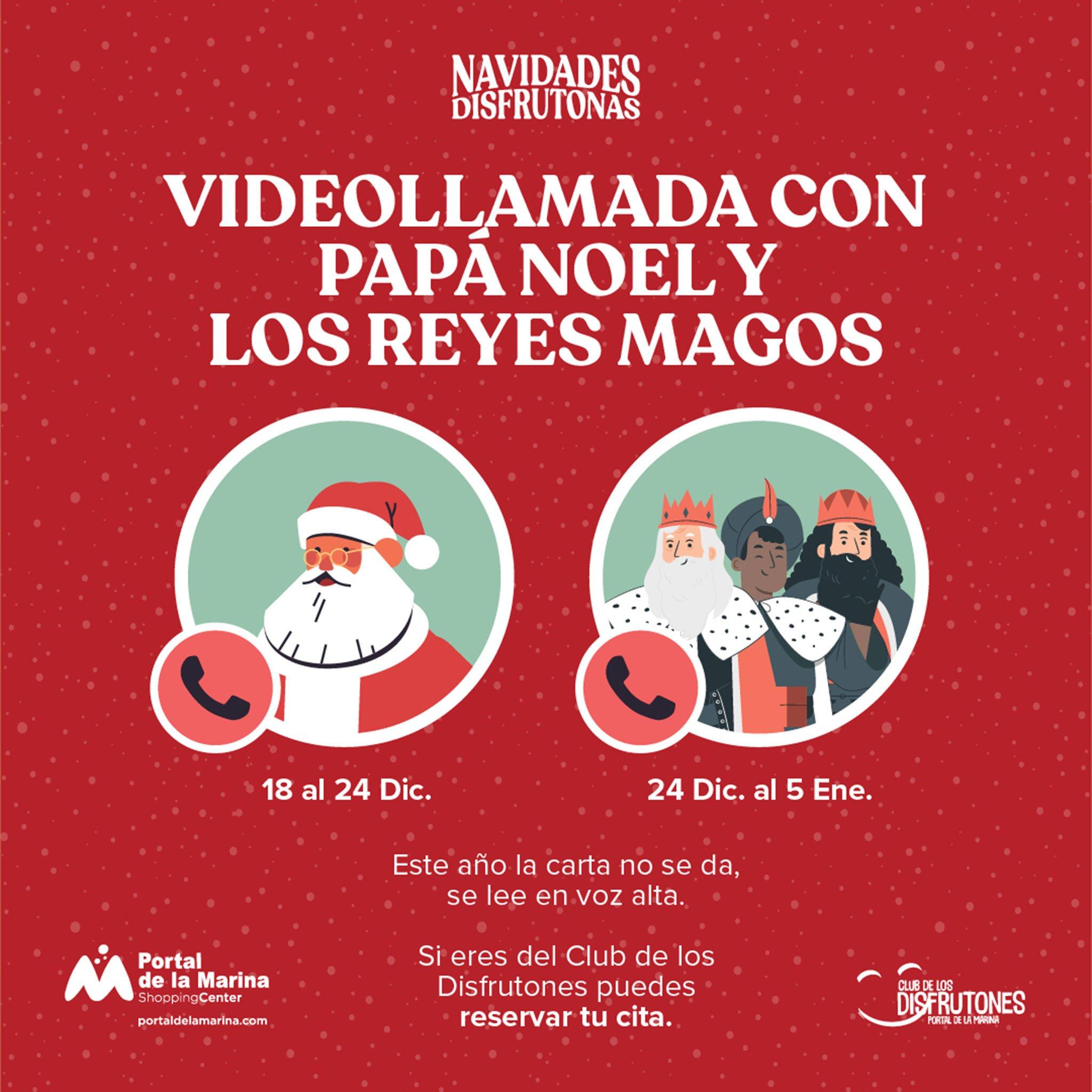 Videollamadas con Papá Noel y los Reyes Magos en Portal de la Marina