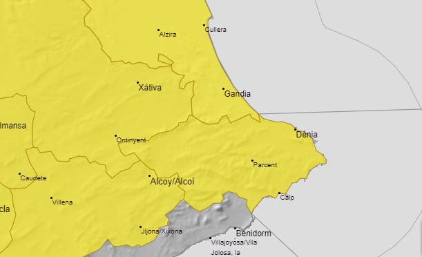 Alerta amarilla por viento