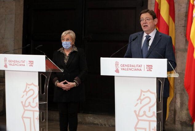 Imagen: Anuncio de las nuevas medidas de restricción de Ximo Puig y Ana Barceló