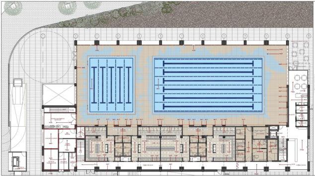 Afbeelding: plattegrond van het overdekte zwembad van Xàbia