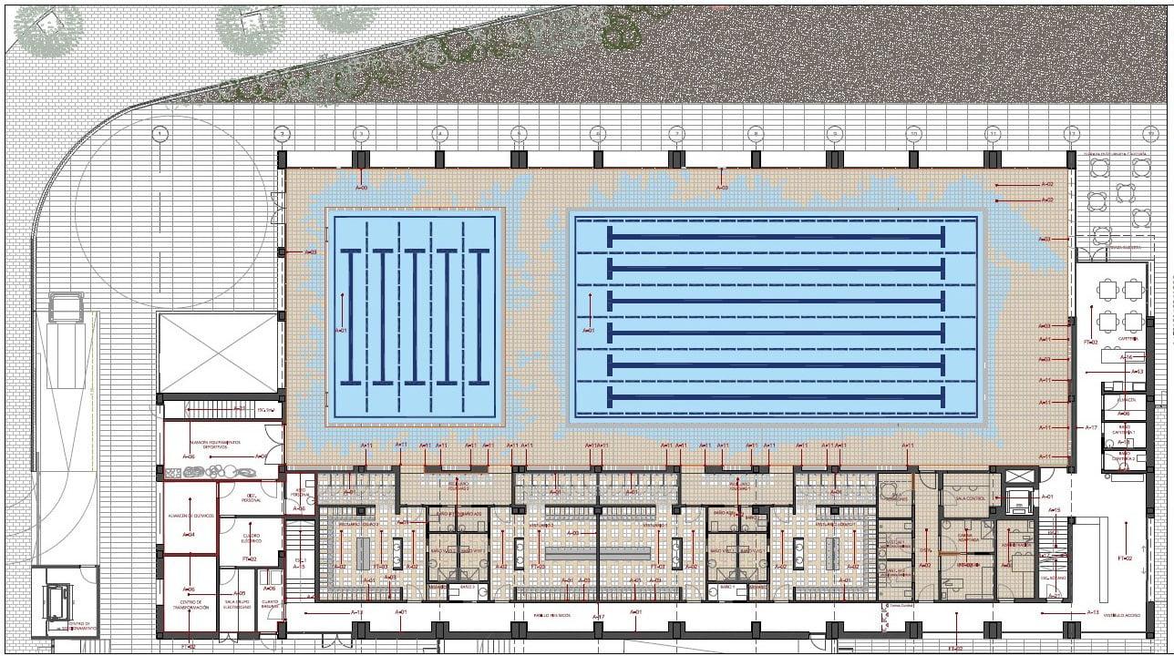 Plano de la piscina cubierta de Xàbia