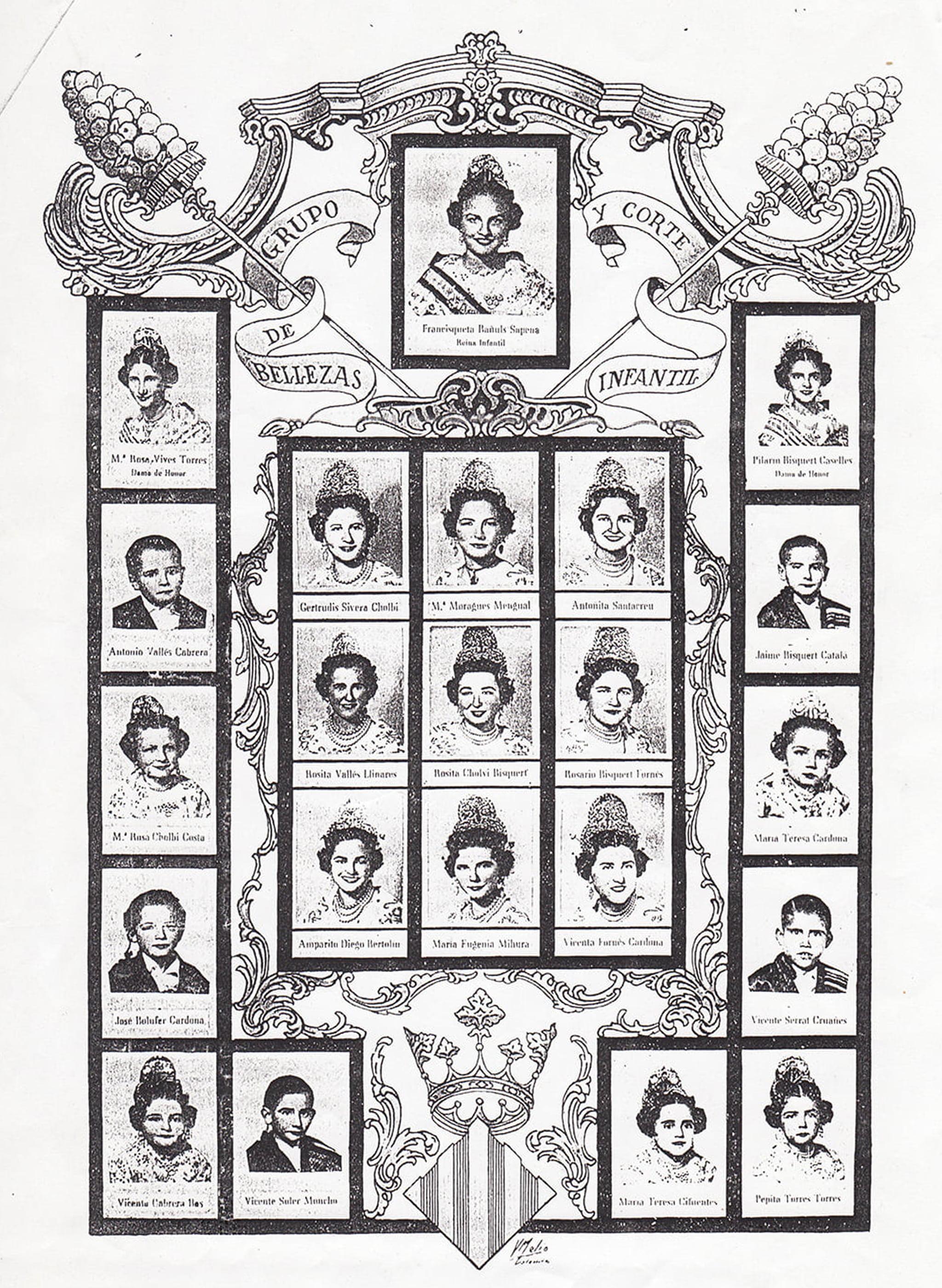 Reina, damas y festeras en el llibret de festes de las Hogueras de San Juan de Jávea de 1956