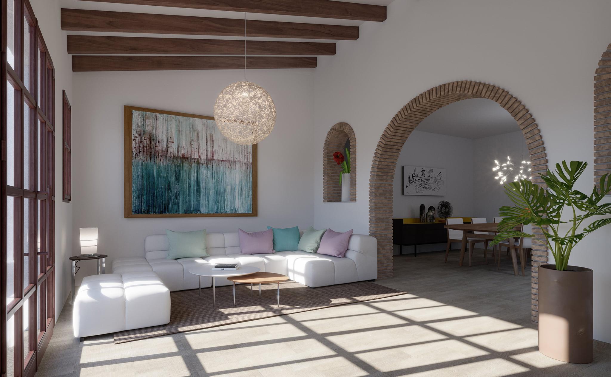 Salón de un chalet en venta en Dénia, en Les Marines – Lucas Graf Projects