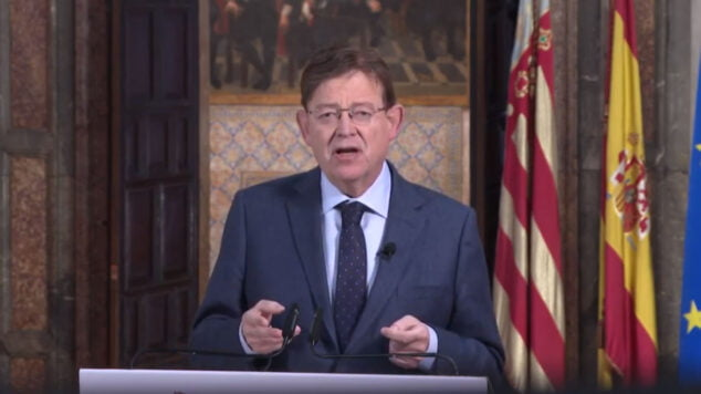 Imagen: Ximo Puig durante la declaración institucional
