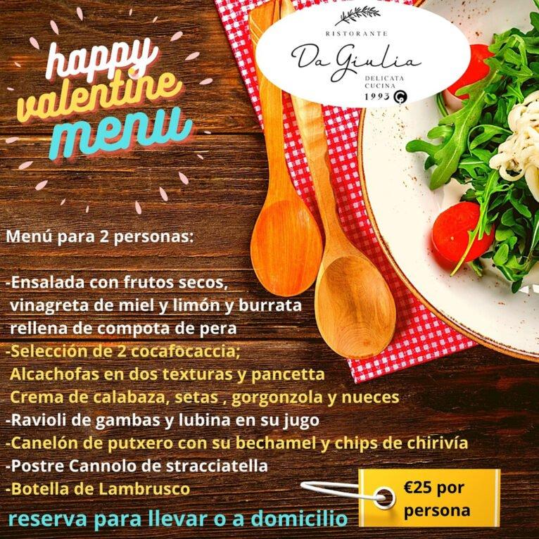 Menú de San Valentín en Restaurante Da Giulia