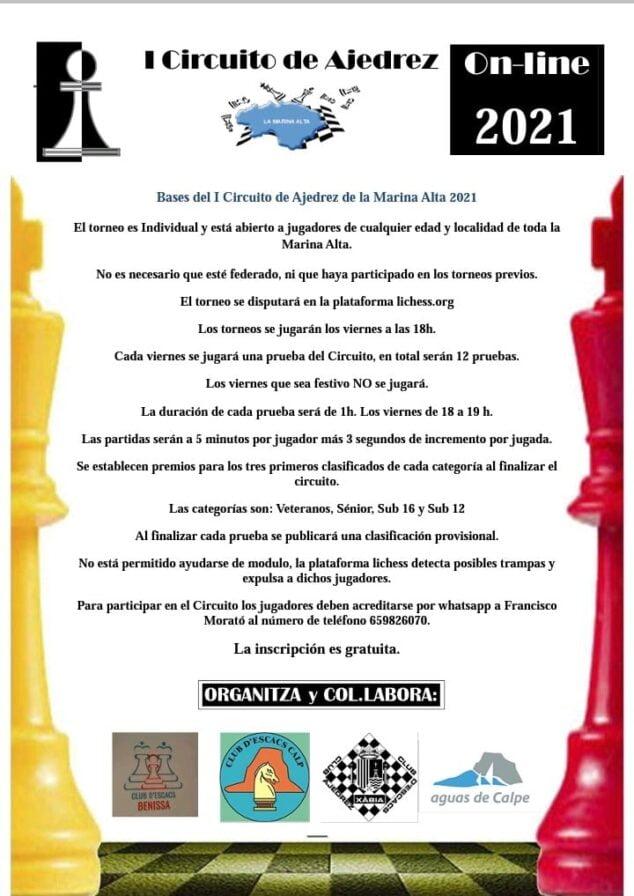 Imagen: Circuito Comarcal de Ajedrez 2021 Online