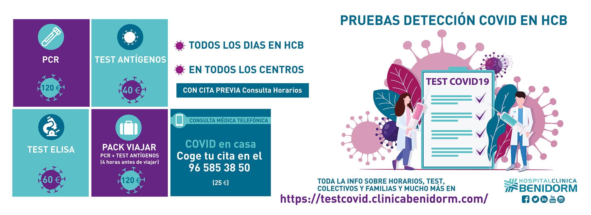 Pruebas de detección de COVID 19 en todos los centros de Hospital Clínica Benidorm (HCB)