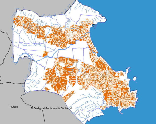 Imagen: Mapa del PGOU Xàbia