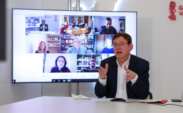 Imagen: Ximo Puig durante la reunión del Plan de Vacunación