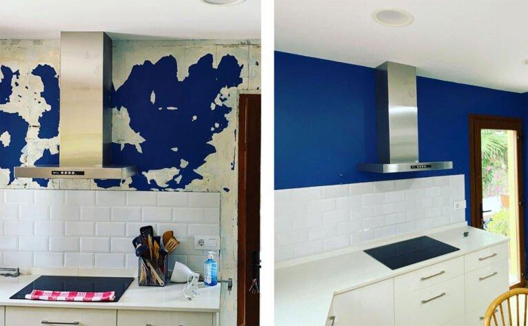 Antes y después de la pintura de una cocina en Jávea - Pinturas Juanvi Ortolà