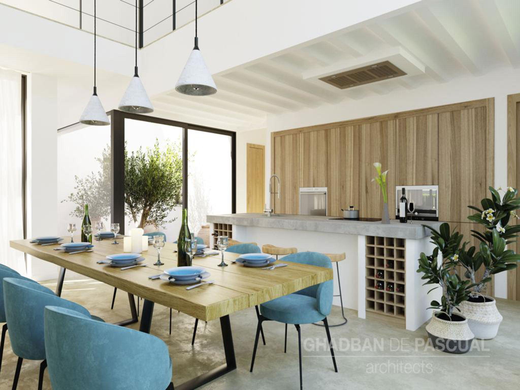 Cocina del proyecto de una villa ibicenca en Jávea – Atina Inmobiliaria