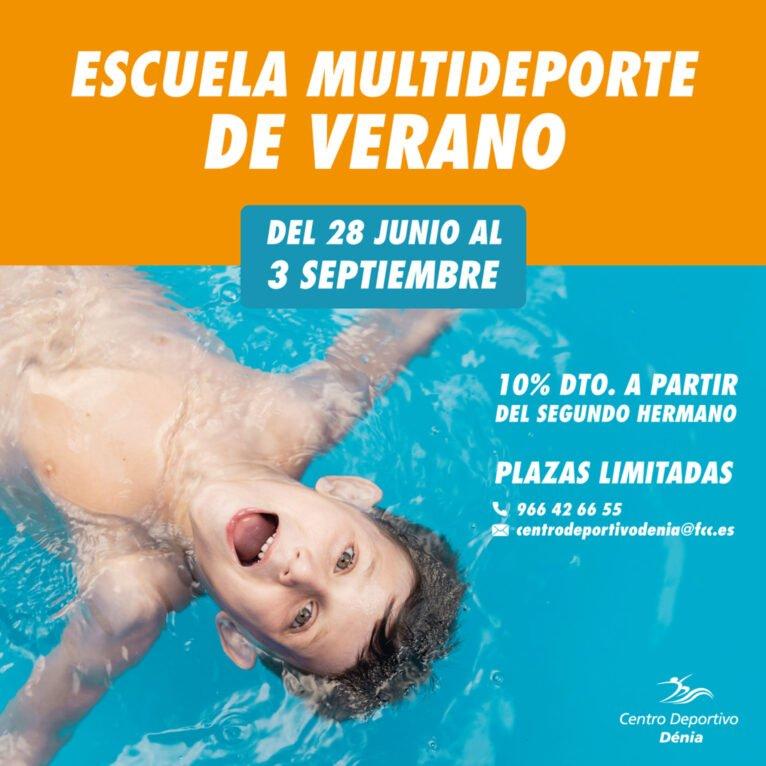 Cartel informativo de la Escuela Multideporte de Verano de Centro Deportivo Dénia