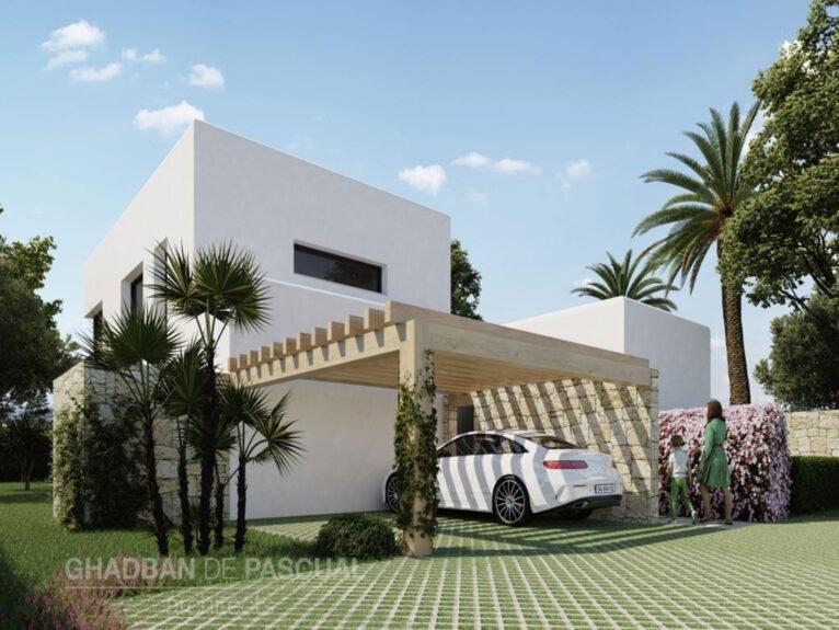 Fachada del proyecto de una villa ibicenca en Jávea - Atina Inmobiliaria