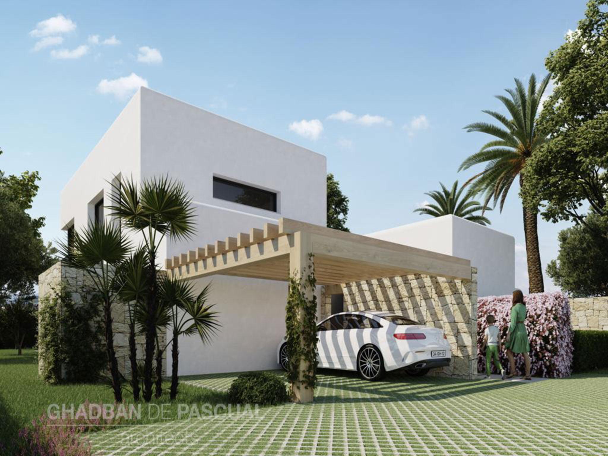 Fachada del proyecto de una villa ibicenca en Jávea – Atina Inmobiliaria